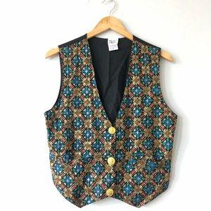 3/$20 Vintage graphic patterned beaded gold vest